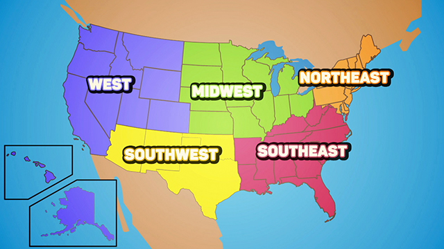 Regions Of The US Flocabulary - Us map divided into regions